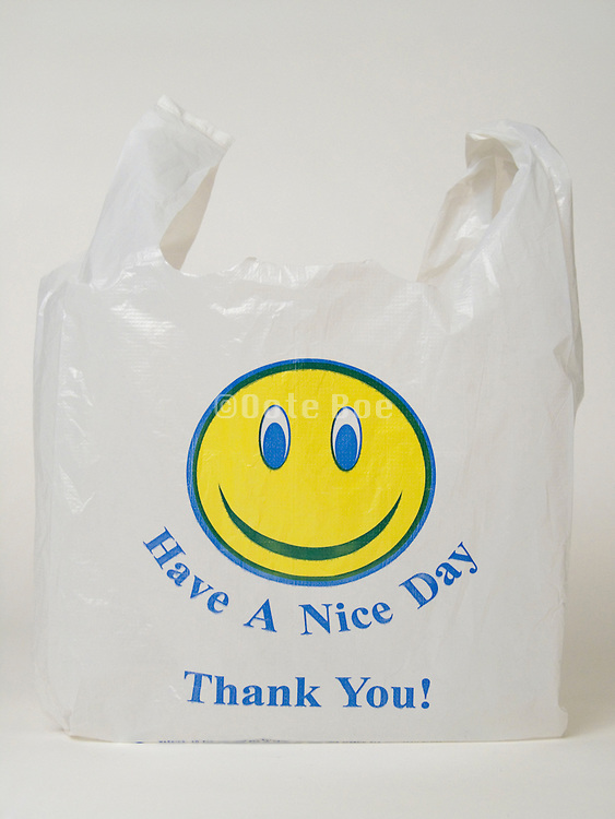 plastic shopping bag with a happy smiling face printing
