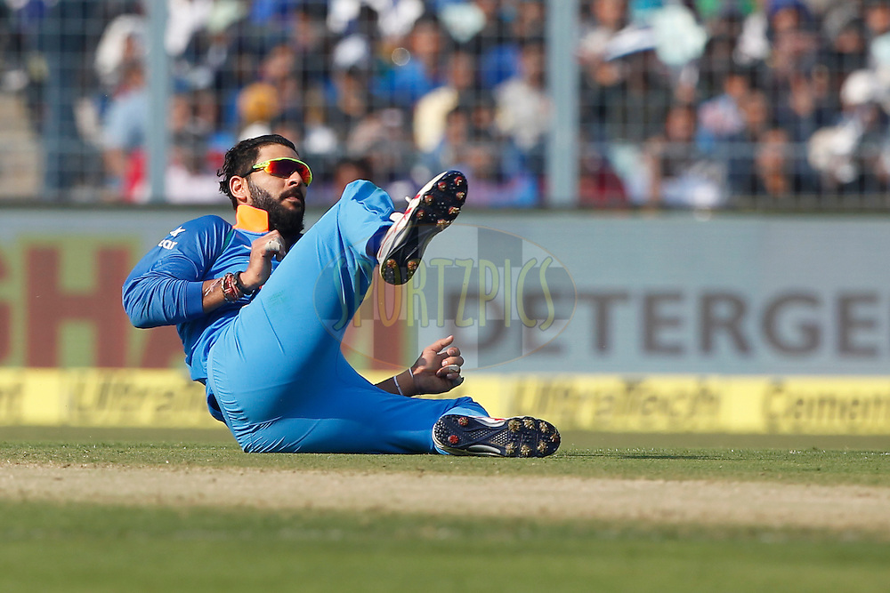 Yuvraj Singh of India in action during the third One Day International (ODI) between India and England  held at Eden Gardens in Kolkata on the 22nd January 2017<br /> <br /> Photo by: Deepak Malik/ BCCI/ SPORTZPICS