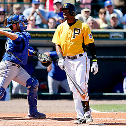 Mar 13, 2013; Bradenton, FL, USA; Pittsburgh Pirates left fielder Starling Marte (6) reacts after striking out against the Toronto Blue Jays during the bottom of the fifth inning of a spring training game at McKechnie Field. Mandatory Credit: Derick E. Hingle-USA TODAY Sports