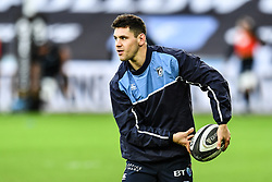 Cardiff Blues' Tomos Williams during the pre match warm up<br /> <br /> Photographer Craig Thomas/Replay Images<br /> <br /> Guinness PRO14 Round 13 - Ospreys v Cardiff Blues - Saturday 6th January 2018 - Liberty Stadium - Swansea<br /> <br /> World Copyright © Replay Images . All rights reserved. info@replayimages.co.uk - http://replayimages.co.uk