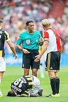 ROTTERDAM - Feyenoord - Vitesse , Voetbal , Seizoen 2015/2016 , Eredivisie , De Kuip , 23-08-2015 , Speler van Feyenoord Dirk Kuyt (r) krijgt geel van Scheidsrechter Serdar Gozubuyuk na overtreding op Vitesse speler Marvelous Nakamba (l)