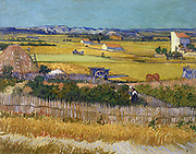 'The Harvest', a painting by Vincent Van Gogh depicting a rural scene. Oil on canvas. 1888 AD.