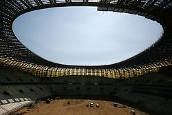 """10.05.2011, Danzig, POL, Euro 2012, PGE Arena Gdansk, Baufortschritt, im Bild Die Bauarbeiten begannen am 15. Dezember 2008, die Fertigstellung ist für 2011 geplant. Am 24. Juli 2010 fand das Richtfest statt. Die Durchführung des Stadionbaus übernimmt das Architekturbüro RKW Rhode Kellermann Wawrowsky aus Düsseldorf. Das Namensrecht erwarb das polnische Energieversorgungsunternehmen Polska Grupa Energetyczna S.A. (PGE) für ca. 35 Mio. Zloty bis Ende 2014. Vorher trug das Stadionprojekt den Namen ,,Baltic Arena"""" (dt.: ,,Ostsee-Arena""""). Der fertige Stadionbau hat eine Länge von 236 Meter bei einer Breite von 203 Meter und 45 Meter Höhe. Das neue Stadion wird überwiegend von dem Fußballverein Lechia Gdansk genutzt werden und bietet in Zukunft Plätze für rund 44.000 Zuschauer. EXPA Pictures © 2011, PhotoCredit: EXPA/ EXPA/ Newspix/Wojciech Figurski +++++ ATTENTION - FOR AUSTRIA/(AUT), SLOVENIA/(SLO), SERBIA/(SRB), CROATIA/(CRO), SWISS/(SUI) and SWEDEN/(SWE) CLIENT ONLY +++++"""