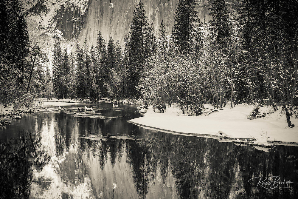 El Capitan above the Merced River in winter, Yosemite National Park, California USA