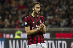 April 8, 2018 - Milan, Milan, Italy - 8th April 2018, San Siro, Milan, Italy; Serie A football, AC Milan versus US Sassuolo; Hakan Calhanoglu of AC Milan (Credit Image: © Gaetano Piazzolla/Pacific Press via ZUMA Wire)