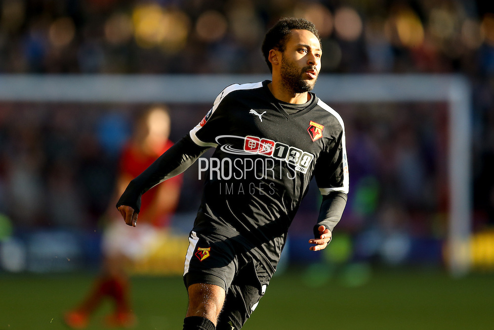 Watford midfielder Ikechi Anya  during the The FA Cup fourth round match between Nottingham Forest and Watford at the City Ground, Nottingham, England on 30 January 2016. Photo by Simon Davies.