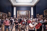 Crowd waiting to see Leonardo Da Vinci's Gioconda.