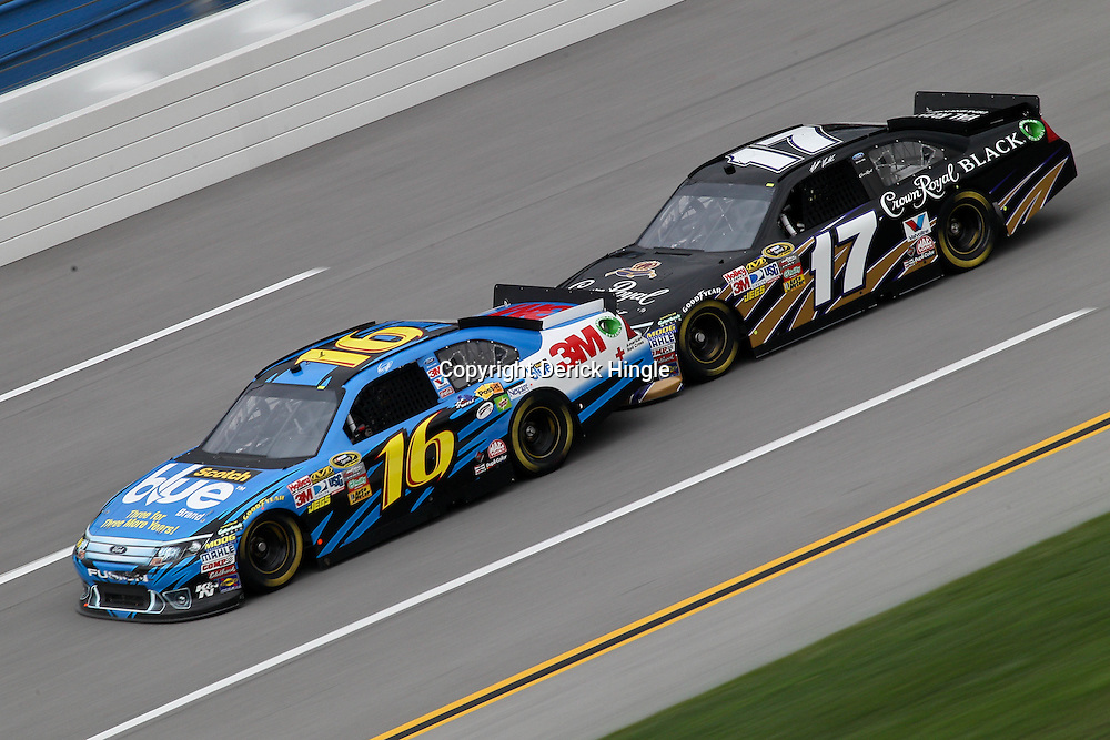 April 15, 2011; Talladega, AL, USA; NASCAR Sprint Cup Series driver Matt Kenseth (17) bump drafts Greg Biffle (16) during practice for the Aarons 499 at Talladega Superspeedway.   Mandatory Credit: Derick E. Hingle