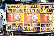 Roma, 29 Settembre 2010.Manifesti affissi in tutto il centro della citta' contro Umberto Bossi della Lega Nord, per le dichiarazioni contro la citta' di Roma firmati dal  movimento di destra IL Popolo di Roma