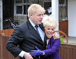 © under license to London News Pictures.  09/03/2011. The Mayor of London Boris Johnson and actress Barbara Windsor  launch this years Big Lunch at alotments in Bethnal Green today (09/03/2011) to encourage Britons to hold more community events. Photo credit should read Theodore Wood/LNP