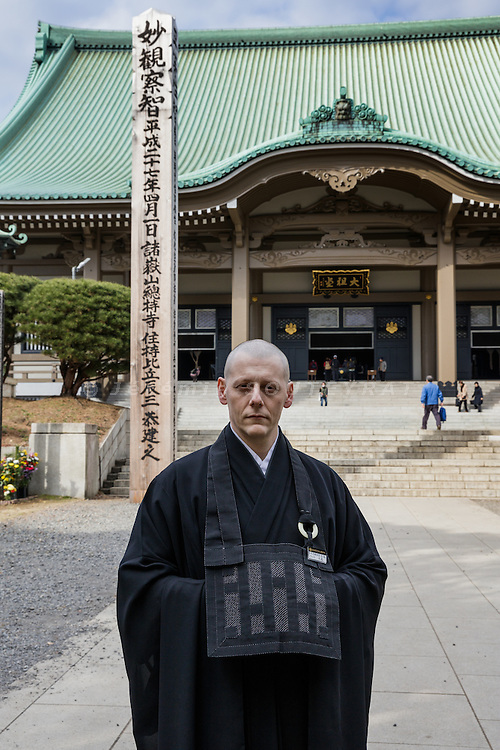 "Yokohama, Japan, January  7 2016 - Portrait of Italian citizen Alberto ""Daijo"" Pitozzi, 42, curently under training as novice zen monk for 2 years at Soji-ji temple, one of two head temples of the Sōtō school of Zen Buddhism."