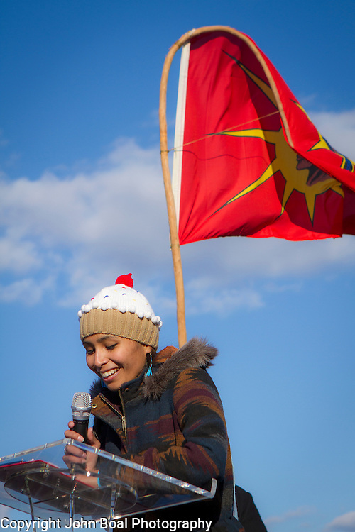 Jordan Marie Brings Three White Horses Daniel, Kul Wicasa Oyate/Lower Brule Sioux, speaks during a protest and march from in front of the U.S. Capitol to the EPA, about the North Dakota Access Pipeline, as well as the effort to free Leonard Peltier.  Saturday, December 10, 2016. John Boal Photography