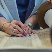 CHEVY CHASE, MD -MAY14: Charlotte Gottlieb, 93, reads from the Torah during her Bat-Mitzvah ceremony at the Five Star Residences in Chevy Chase, Maryland, May 14, 2016. The women who were unable to have a Bat-Mitzvah ceremony at the traditional age of 13 because they were girls, are now finally able to celebrate this traditional Jewish coming of age ceremony. (Photo by Evelyn Hockstein/For The Washington Post)