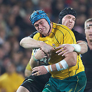 Jason Horwill is tackled by Ali Williams during the New Zealand V Australia Tri-Nations, Bledisloe Cup match at Eden Park, Auckland. New Zealand. 6th August 2011. Photo Tim Clayton