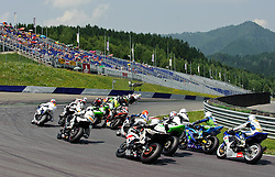 01.07.2012, Red Bull Ring, Spielberg, AUT, IDM Red Bull Ring, Renntag, im Bild ein Feature nach dem Start mit Tatu Lauslehto, (FIN, Supersport, #25, 1. Platz), Stefan Kerschbaumer, (AUT, Supersport, #89, 2. Platz), David Linortner, (AUT, Supersport, #37) // during the IDM race day on the Red Bull Circuit in Spielberg, 2012/07/01, EXPA Pictures © 2012, PhotoCredit: EXPA/ S. Zangrando