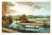 Crinan Canal at Lochgilphead, Scotland. Opened 1801, it linked Loch Fyne to the Atlantic. Engineer: John Rennie. From a chromolithograph published in 1891.