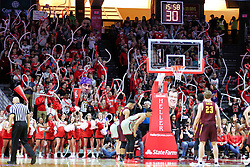 NORMAL, IL - February 02: Redbird fans wave noodle balloons during a charity toss by a Rambler during a college basketball game between the ISU Redbirds and the University of Loyola Chicago Ramblers on February 02 2019 at Redbird Arena in Normal, IL. (Photo by Alan Look)