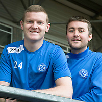 St Johnstone defenders Brian Easton (left) and Tam Scobbie pictured at McDiarmid Park after signing contract extensions...13.01.14<br /> Picture by Graeme Hart.<br /> Copyright Perthshire Picture Agency<br /> Tel: 01738 623350  Mobile: 07990 594431