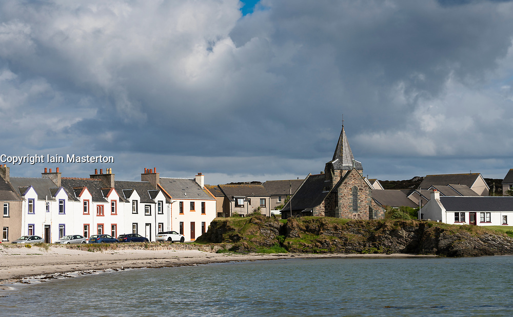 View of whitewashed houses at Port Ellen on Islay in Inner Hebrides , Scotland, UK