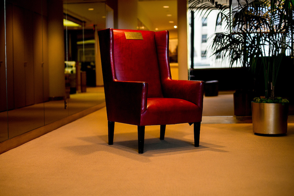 "NEW YORK, NY - JUNE 10, 2016: A chair used during his time on the television program of ""The Apprentice"" is arranged for a photograph in The Trump Organization's offices in Trump Tower in New York, New York. CREDIT: Sam Hodgson for The New York Times."