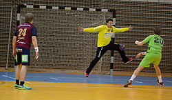 09.12.2014, Sporthalle, Leoben, AUT, OeHB-Cup Achtelfinale, Union JURI Leoben vs SG INSIGNIS Handball West Wien, im Bild Andreas Schwarz (Leoben), Thomas Hurich (Leoben), Sebastian Frimmel (West Wien) // durning the OeHB-Cup, Round of the last sixteen, between, Union JURI Leoben vs SG INSIGNIS Handball West Wien at the Sport Hall, Leoben, Austria on 2014/12/09, EXPA Pictures © 2014, PhotoCredit: EXPA/ Dominik Angerer