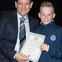 St Johnstone FC Youth Academy Presentation Night at Perth Concert Hall..21.04.14<br /> Chairman Steve Brown presents to Kian Williams<br /> Picture by Graeme Hart.<br /> Copyright Perthshire Picture Agency<br /> Tel: 01738 623350  Mobile: 07990 594431