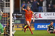 Luton Town player Jack Stacey celebrates Luton Town's opening goal in the first half during the EFL Sky Bet League 1 match between Luton Town and AFC Wimbledon at Kenilworth Road, Luton, England on 23 April 2019.