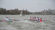 Putney. London, Varsity Fixtures,  CUBC and NED, close to clashing, oblivious to the Sailing Boat ahead of them. OUBC vs Molesey BC. and CUBC vs Select NED crew. on the championship Course Putney to Mortlake.  ENGLAND. <br /> <br /> Saturday  21/03/2015<br /> <br /> [Mandatory Credit; Intersport-images]