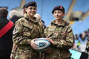 Two young female Army Cadets with the match ball during the Gallagher Premiership Rugby match between Wasps and Bath Rugby at the Ricoh Arena, Coventry, England on 2 November 2019.