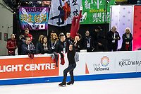 KELOWNA, BC - OCTOBER 24: Canadian figure skaters,  Liubov ILYUSHECHKINA and Charlie BILODEAU warm up on the ice during pairs practice Skate Canada International at Prospera Place on October 24, 2019 in Kelowna, Canada. (Photo by Marissa Baecker/Shoot the Breeze)