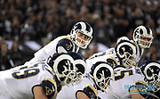 Sep 10, 2018; Oakland, CA, USA; Los Angeles Rams quarterback Jared Goff (16) prepares to take the snap against the Oakland Raiders at the Oakland-Alameda County Coliseum. The Rams defeated the Raiders 33-13.