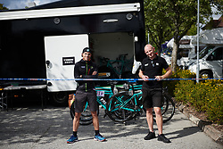 Guarding the Trek Drops camp at Ladies Tour of Norway 2018 Stage 1, a 127.7 km road race from Rakkestad to Mysen, Norway on August 17, 2018. Photo by Sean Robinson/velofocus.com