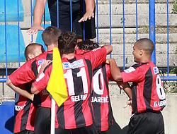Team Primorje celebrating at 6th Round of PrvaLiga Telekom Slovenije between NK Primorje Ajdovscina vs NK Rudar Velenje, on August 24, 2008, in Town stadium in Ajdovscina. Primorje won the match 3:1. (Photo by Vid Ponikvar / Sportal Images)