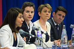 © Licensed to London News Pictures. 06/06/2015. London, UK. L to R Lizz Kendal, Mary Creagh, Yvette Cooper and Andy Burnham. Current Labour Leadership candidates attend a debate at the Fabien Society Conference, held at the institute of Education in London. Photo credit: Ben Cawthra/LNP