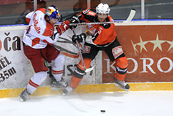 Conny Stromberg (25) and Walter Lee Sweatt (3) at ice hockey match Acroni Jesencie vs EC Red Bull Salzburg in EBEL League,  on November 23, 2008 in Arena Podmezaklja, Jesenice, Slovenia. (Photo by Vid Ponikvar / Sportida)