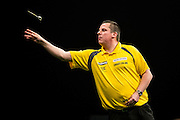 Dave Chisnall during the Premier League Darts  at the Motorpoint Arena, Cardiff, Wales on 31 March 2016. Photo by Shane Healey.
