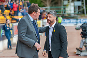 Tommy Wright, manager of St Johnstone FC (left) chats with Motherwell manager Stephen Robinson before the Ladbrokes Scottish Premiership match between St Johnstone and Motherwell at McDiarmid Stadium, Perth, Scotland on 11 May 2019.