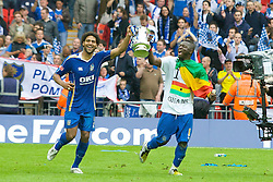 LONDON, ENGLAND - Saturday, May 17, 2008: Portsmouth's Glen Johnson and Sulley Muntar celebrate with the trophy after beating Cardiff City 1-0 during the FA Cup Final at Wembley Stadium. (Photo by David Rawcliffe/Propaganda)