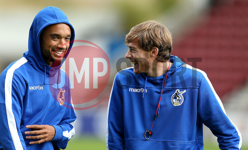 Luke James and Byron Moore of Bristol Rovers share a joke on arrival at Sixfields for the Sky Bet League One fixture with Northampton Town - Mandatory by-line: Robbie Stephenson/JMP - 01/10/2016 - FOOTBALL - Sixfields Stadium - Northampton, England - Northampton Town v Bristol Rovers - Sky Bet League One