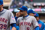 David Wright #5 of the New York Mets after defeating the Minnesota Twins on April 13, 2013 at Target Field in Minneapolis, Minnesota.  The Mets defeated the Twins 4 to 2.  Photo: Ben Krause