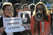 """Roma 2 Settembre 2010.Manifestazione di protesta  organizzata dai Verdi davanti all'ambasciata iraniana a Roma per chiedere al regime di Teheran di """"salvare la vita a Sakineh Mohammadi Ashtiani"""",condannata a morte per un supposto adulterio.Il sottosegretario all'Attuazione del programma di governo Daniela Santanché.Rome September 2, 2010.Protest organized by the Greens before the Iranian embassy in Rome to ask the Tehran regime to """"save the lives Sakineh Mohammadi Ashtiani, sentenced to death for an alleged adultery."""