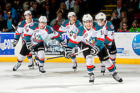 KELOWNA, CANADA - MARCH 8: Nick Merkley #10 of the Kelowna Rockets celebrates the opening goal against the Tri City Americans on March 8, 2014 at Prospera Place in Kelowna, British Columbia, Canada.   (Photo by Marissa Baecker/Getty Images)  *** Local Caption *** Nick Merkley; Rourke Chartier; Damon Severson; Riley Stadel; Ryan Olsen;