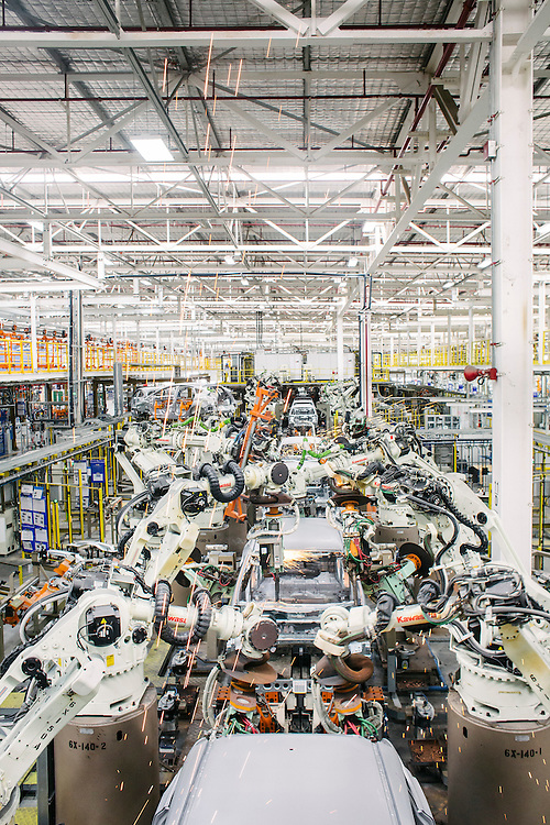 Robots at the world's state of the art Ford factory. Built in Rayong this area has become known as the Detroit of the East. Detroit-based General Motors Co. and Ford Motor Co., have modern factories here. Japanese carmakers have also set up even bigger production bases. Last year Thailand leapfrogged Canada, France, Spain, Russia and the U.K to become the world's 9th biggest motor vehicle manufacturer, producing 2.5 million cars and trucks. That's almost a 10-fold increase in 12 years. Only a small percentage of those vehicles are sold in Thailand. Today, for example, almost one-fifth of all cars imported into Australia are manufactured in the Detroit of the East. From its Rayong base, Ford exports light trucks to markets as far afield as Pakistan and Ireland. And in 2015, when a 10 - nation Southeast Asian common market takes effect, Thai made cars will become more competitive in a region of 600 million increasingly wealthy consumers. Rayong, Thailand.