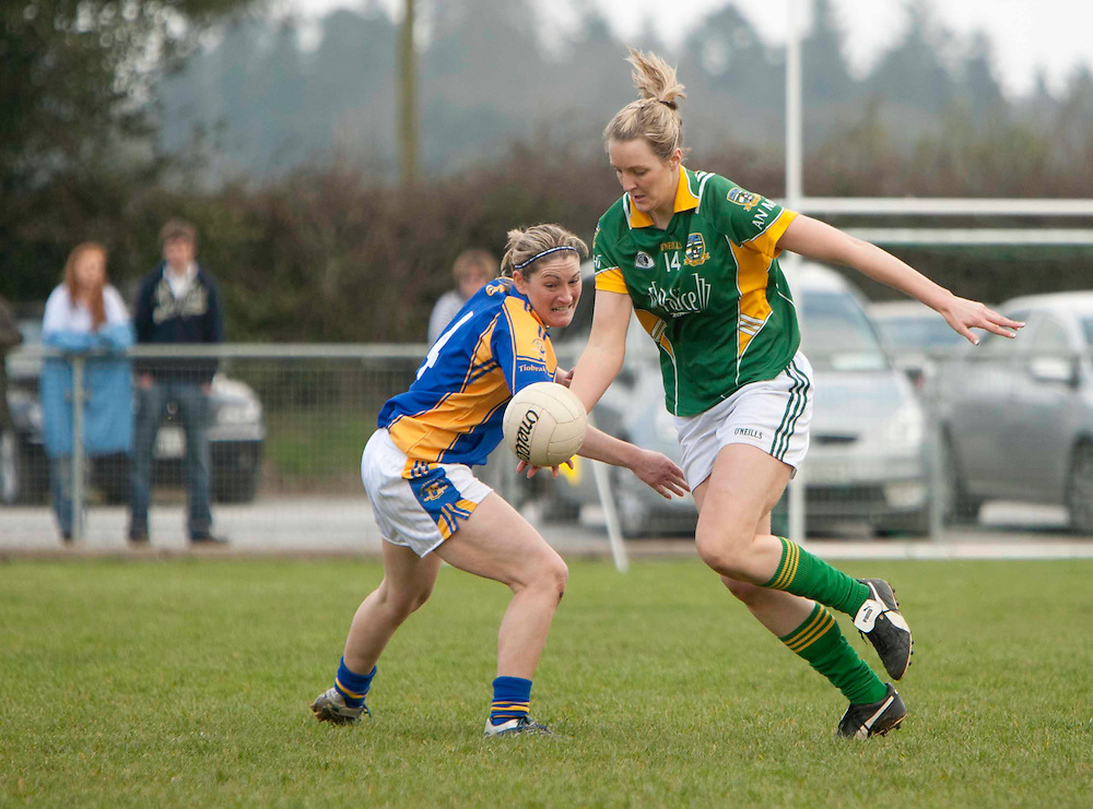 Meath vs Tipperary, Ladies NFL, Division 2 at Seneschalstown GFC_27th March 2011.Mary Sheridan (Meath) & Nancy Ferris (Tipperary).Photo: David Mullen /www.cyberimages.net