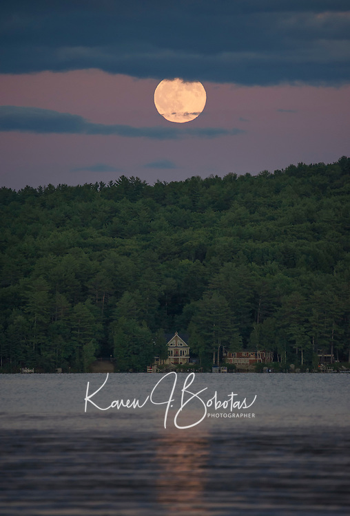 Meredith Bay - full buck moon rising.  ©2016 Karen Bobotas Photographer