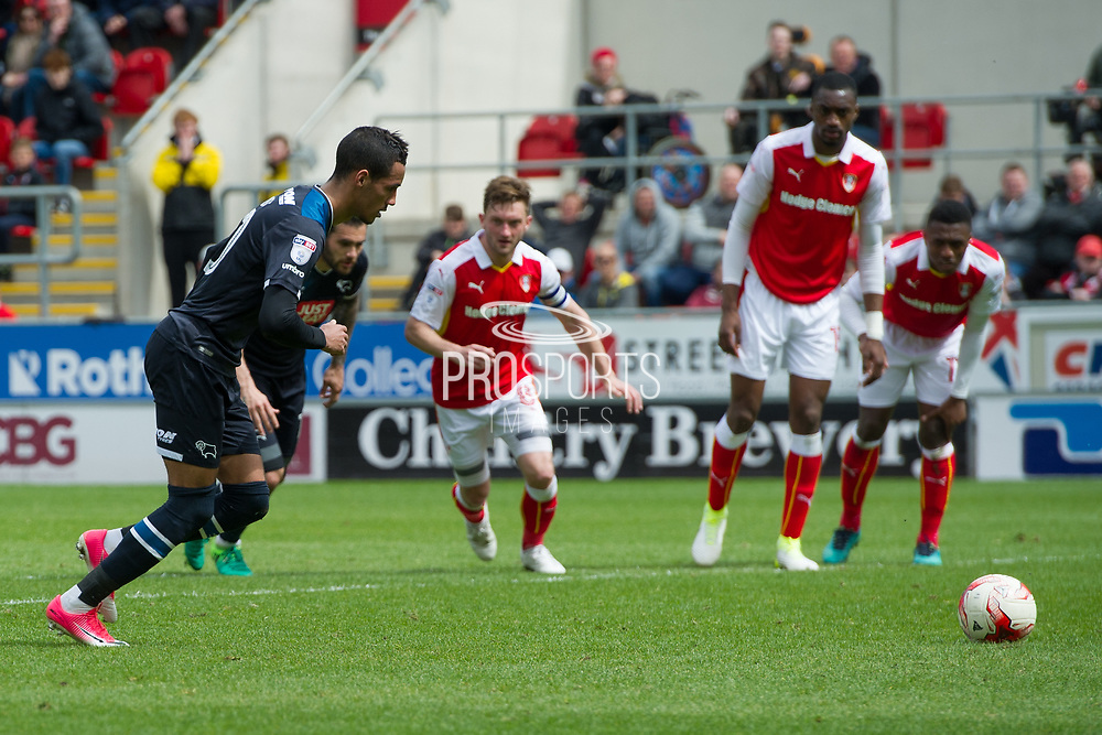 Derby County Midfielder Thomas Ince takes a penalty kick & scores a goal from penalty kick 1-1 during the EFL Sky Bet Championship match between Rotherham United and Derby County at the AESSEAL New York Stadium, Rotherham, England on 7 May 2017. Photo by Craig Zadoroznyj.