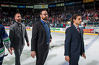 KELOWNA, CANADA - APRIL 30: Kelowna Rockets' head coach Jason Smith, assistant coach Kris Mallette and assistant coach Travis Crickard stand on the ice to shake hands with the Seattle Thunderbirdson April 30, 2017 at Prospera Place in Kelowna, British Columbia, Canada.  (Photo by Marissa Baecker/Shoot the Breeze)  *** Local Caption ***