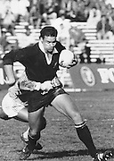 New Zealand All blacks rugby union match, Michael Jones using his power to prevent being tackled, Date unknown, Photo: Norman Smith