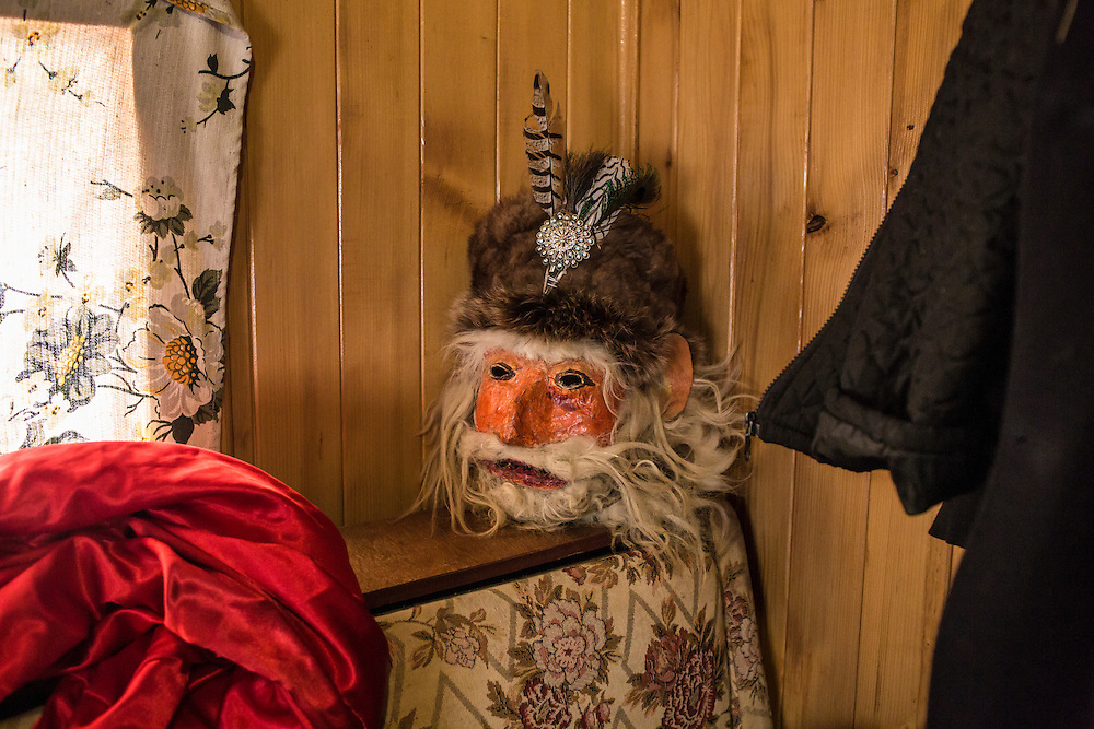 A mask that will be used during celebration of the Malanka Festival sits inside a kitchen on Wednesday, January 13, 2016 in Krasnoilsk, Ukraine. The festival begins at sundown.