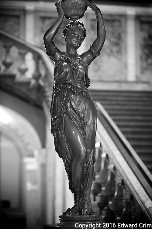 Odalisque lamp on a newel post by the Grand Stair in the Illinois State Capitol